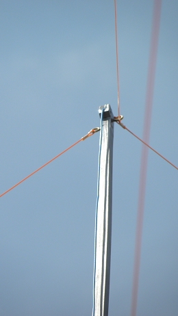 11 m Band J-Pole antenna centred at 27.500 MHz: Top gut line stays